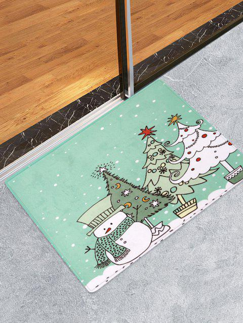 Christmas Tree Snowman Print Decorative Bath Mat - multicolor W24 X L35.5 INCH