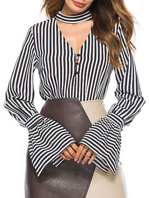 Keyhole Bell Sleeve Stripe Top - BLACK M