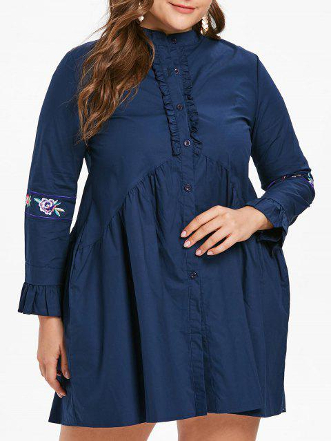 Flounce Trim Plus Size Shirt Dress - NAVY BLUE 4X