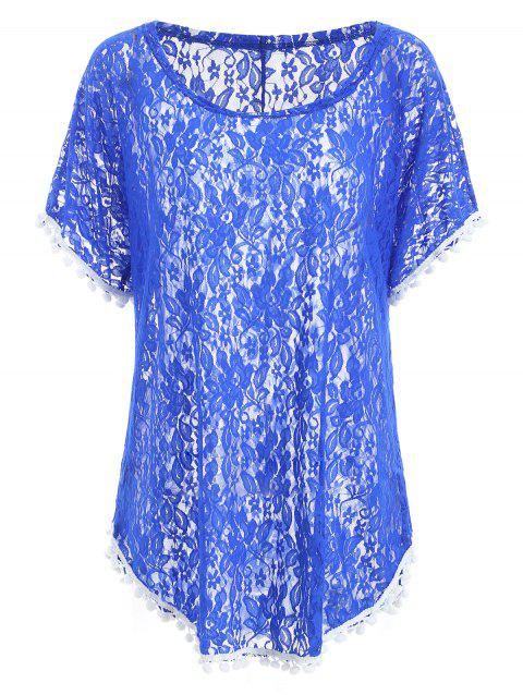 Pompom Ball Half Sleeve Breathable Lace Blouse - BLUE M