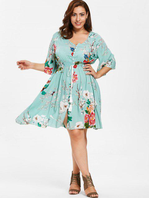 55 Off 2018 Floral Button Up Plus Size Dress In Light Cyan 1x