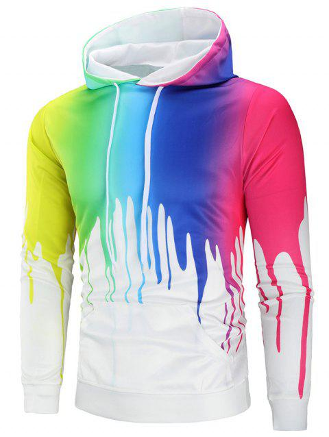 Casual Colorful Paint Pullover Hoodie - multicolor XL