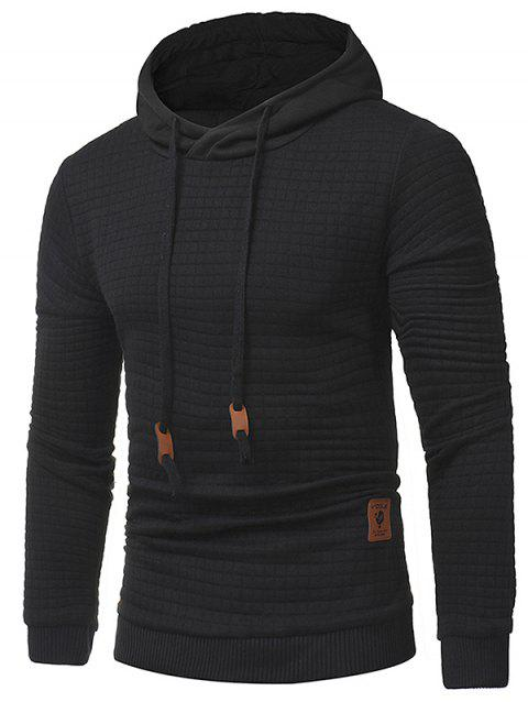 Applique Solid Long Sleeve Hoodie - BLACK L