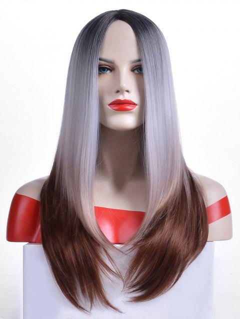 Synthetic Center Parting Long Ombre Straight Wig - multicolor