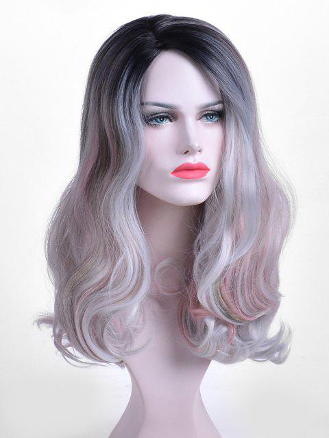 Inclined Bang Long Wavy Colormix Party Synthetic Wig - multicolor