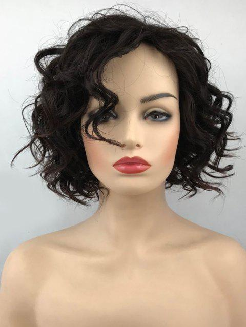 Short Inclined Bang Wavy Cpaless Synthetic Wig - DEEP COFFEE