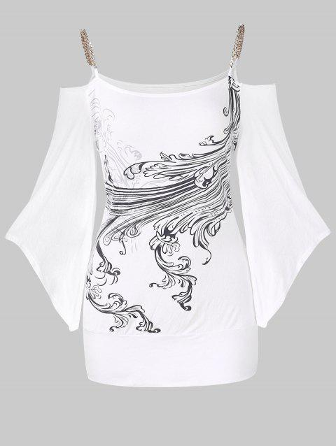 Flare Sleeve Chain Open Shoulder Printed T-shirt - WHITE 2XL