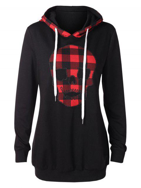Halloween Plaid Skull Tunic Hoodie - BLACK 2XL