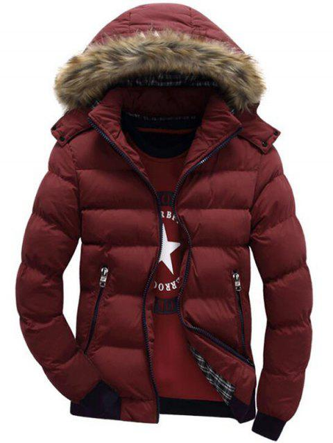 Hooded Padded Zip Up Parka Coat - RED WINE L