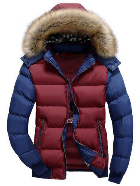 Hooded Padded Zip Up Parka Coat - multicolor E L