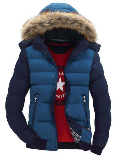 Hooded Padded Zip Up Parka Coat - multicolor A L