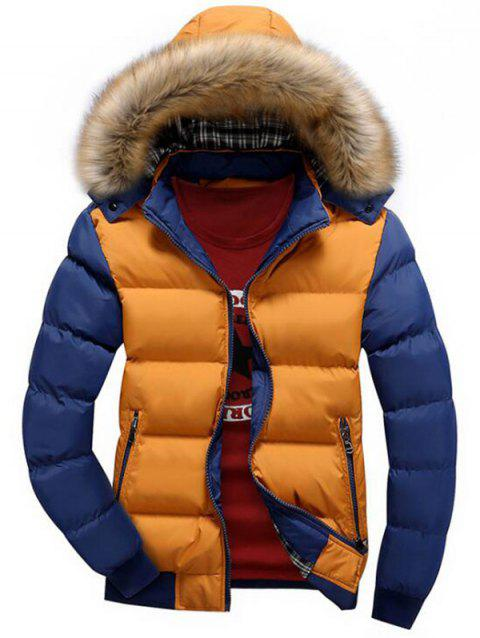 Hooded Padded Zip Up Parka Coat - multicolor C 2XL