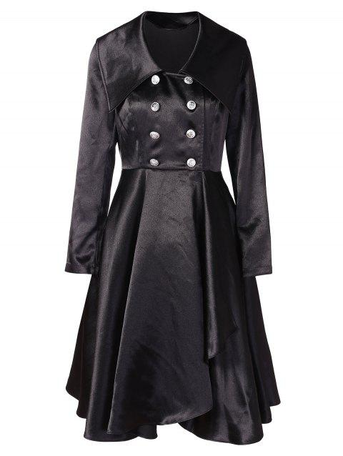 Turn Down Collar Solid Color Dress - BLACK M