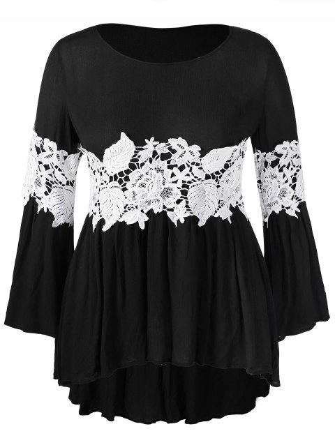 Plus Size High Low Tee with Lace Panel - BLACK 2X