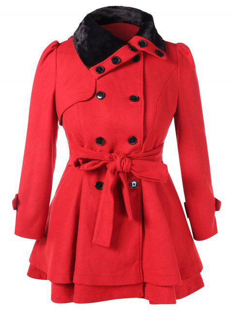 Plus Size Buttoned Belted Layered Coat - LOVE RED 2X