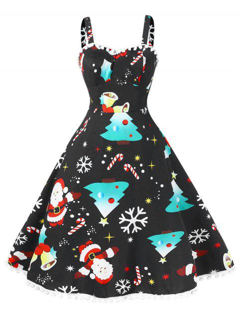 Vintage Pompom Christmas Plus Size Dress - BLACK 2X