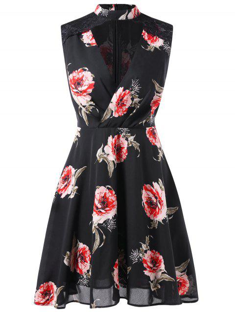 Floral Print Cut Out Sleeveless Dress - BLACK 2XL