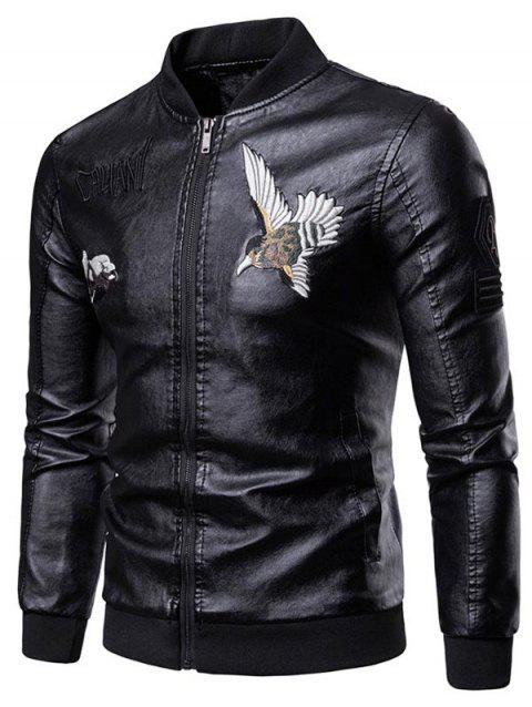 Letter Bird Embroidery Faux Leather Stand Collar Jacket - BLACK S