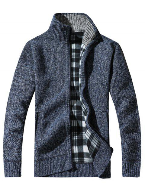 Stand Collar Space Dye Zip Up Sweater - BLUE M