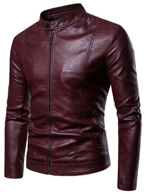 Faux Leather Whole Colored Zipper Pocket Jacket Blood Red M Sold Out