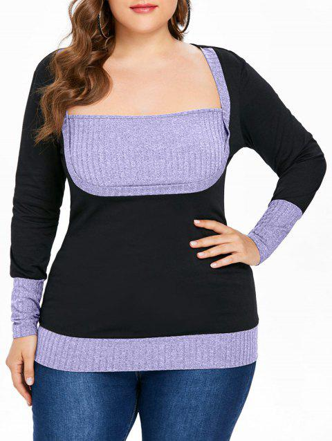 Ribbed Plus Size Color Block T-shirt - MAUVE 2X