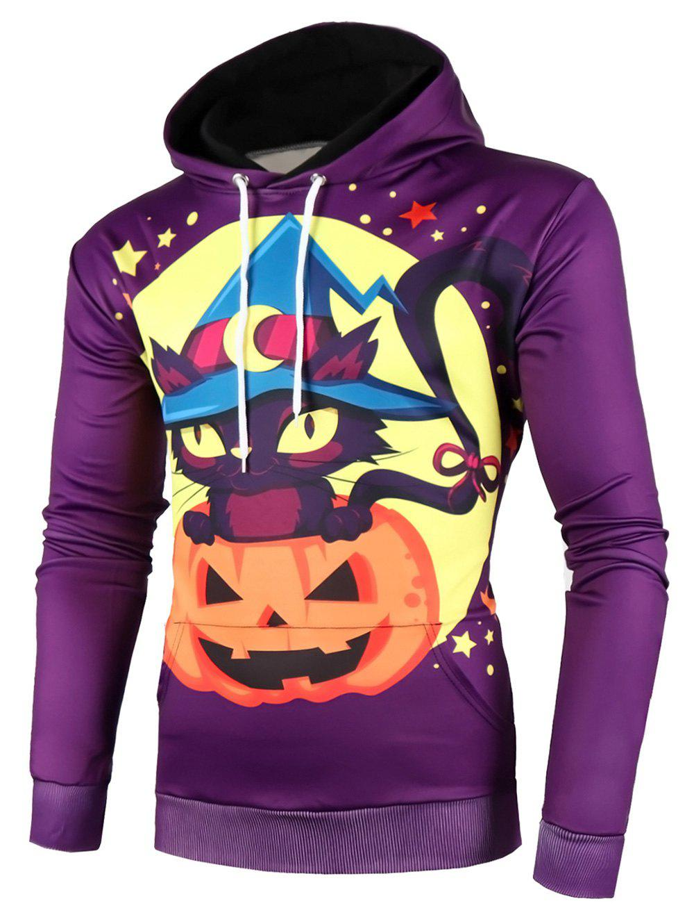 Halloween Pumpkin Cat Star Print Drawstring Hoodie