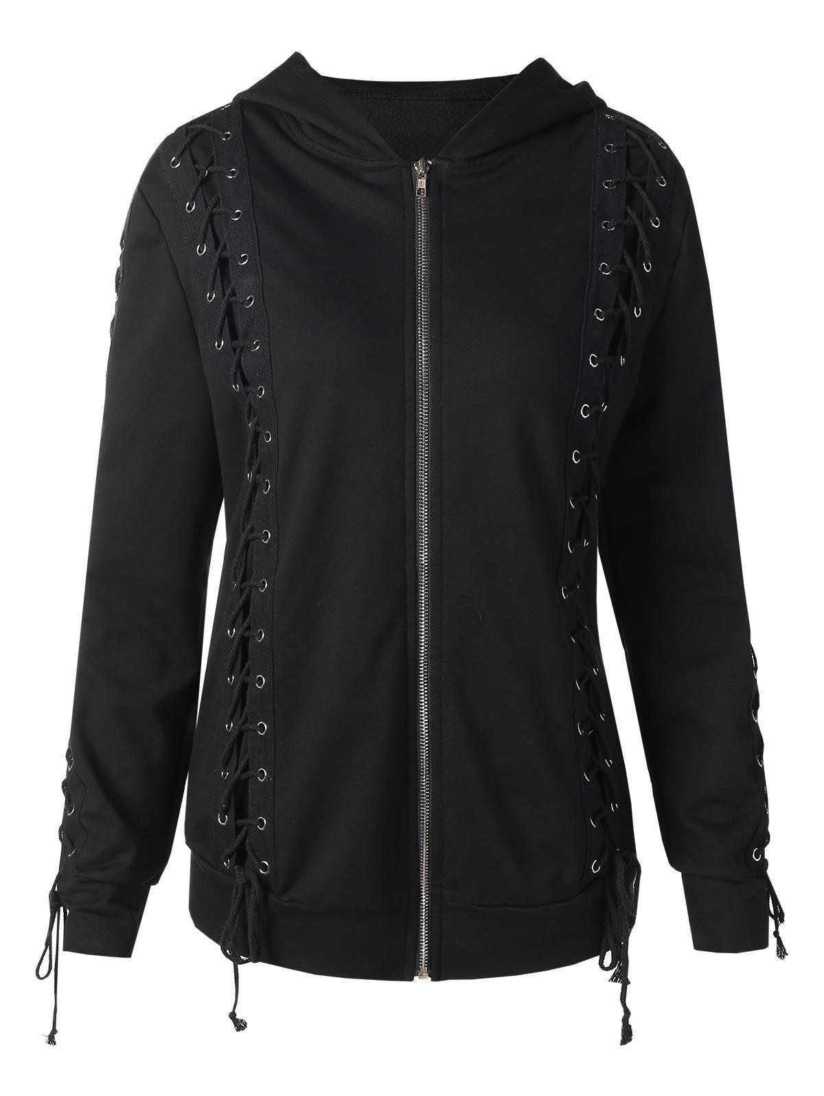 Lace Up Zipped Hoodie - BLACK M