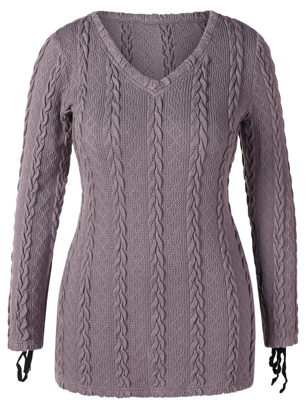 Plus Size V Neck Cable Knit Sweater