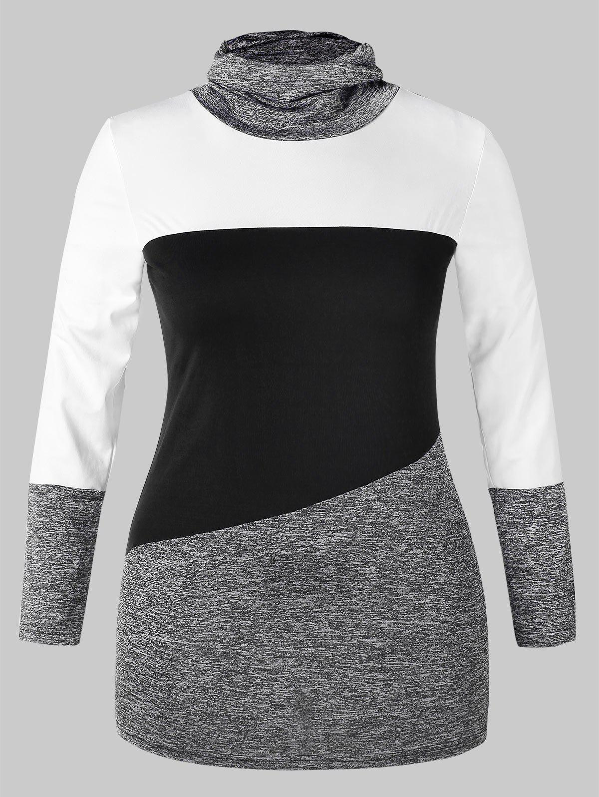 Plus Size Color Block Slim Fit Cowl Neck T Shirt