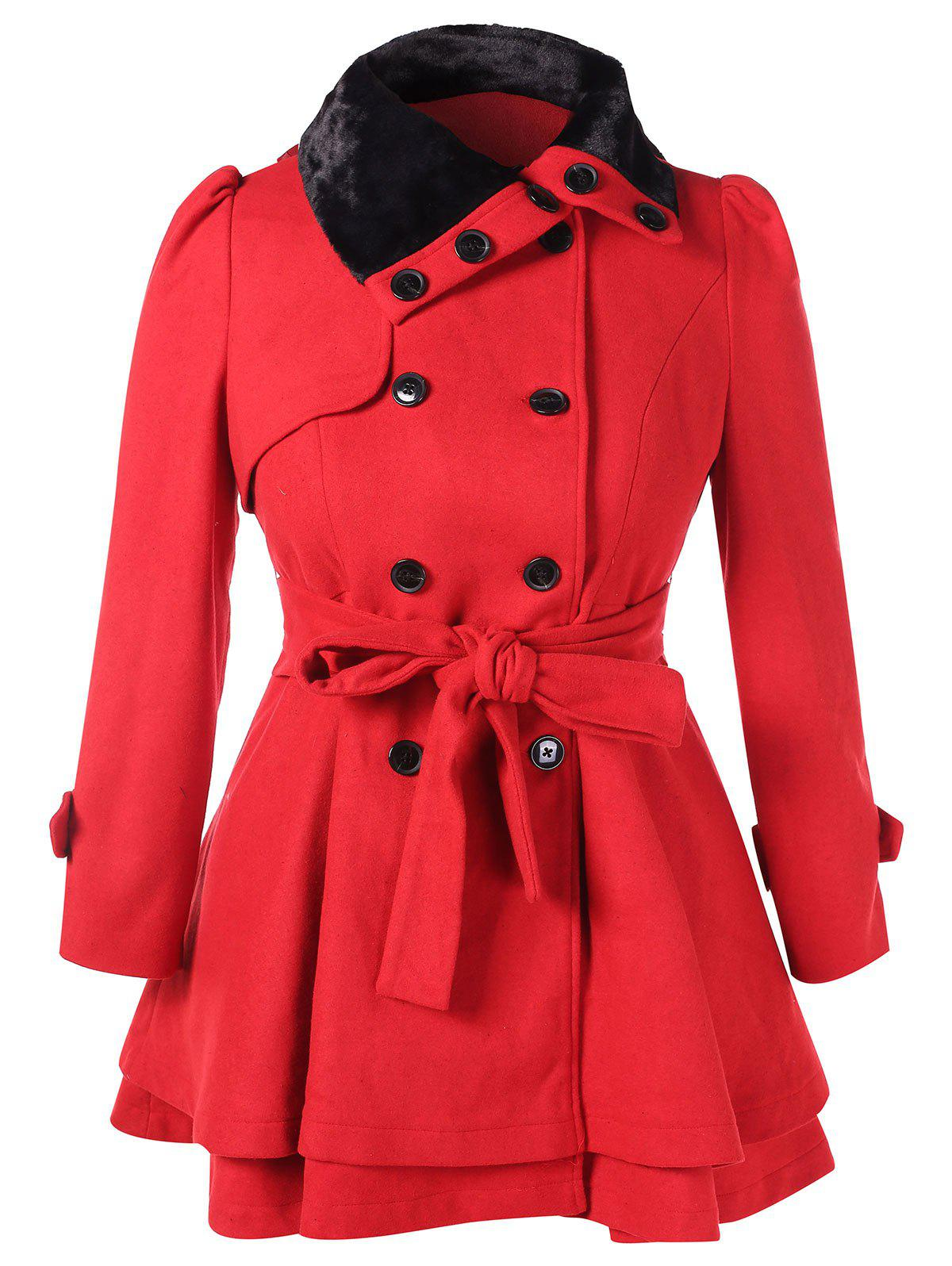 Plus Size Buttoned Belted Layered Coat