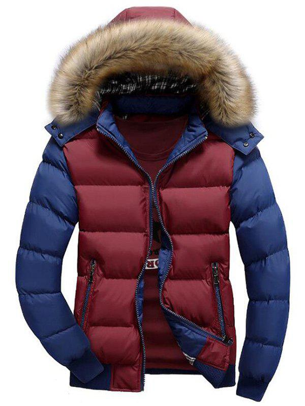Hooded Padded Zip Up Parka Coat - multicolor E M