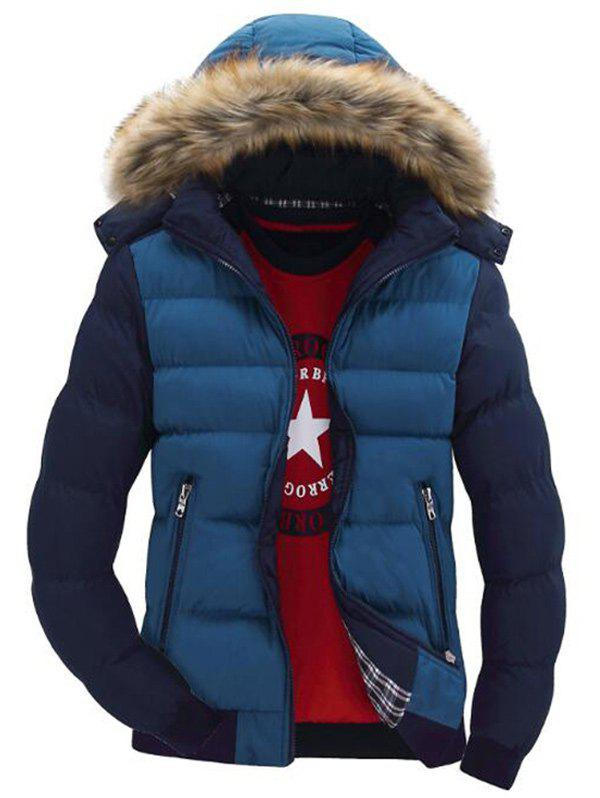 Hooded Padded Zip Up Parka Coat - multicolor A M