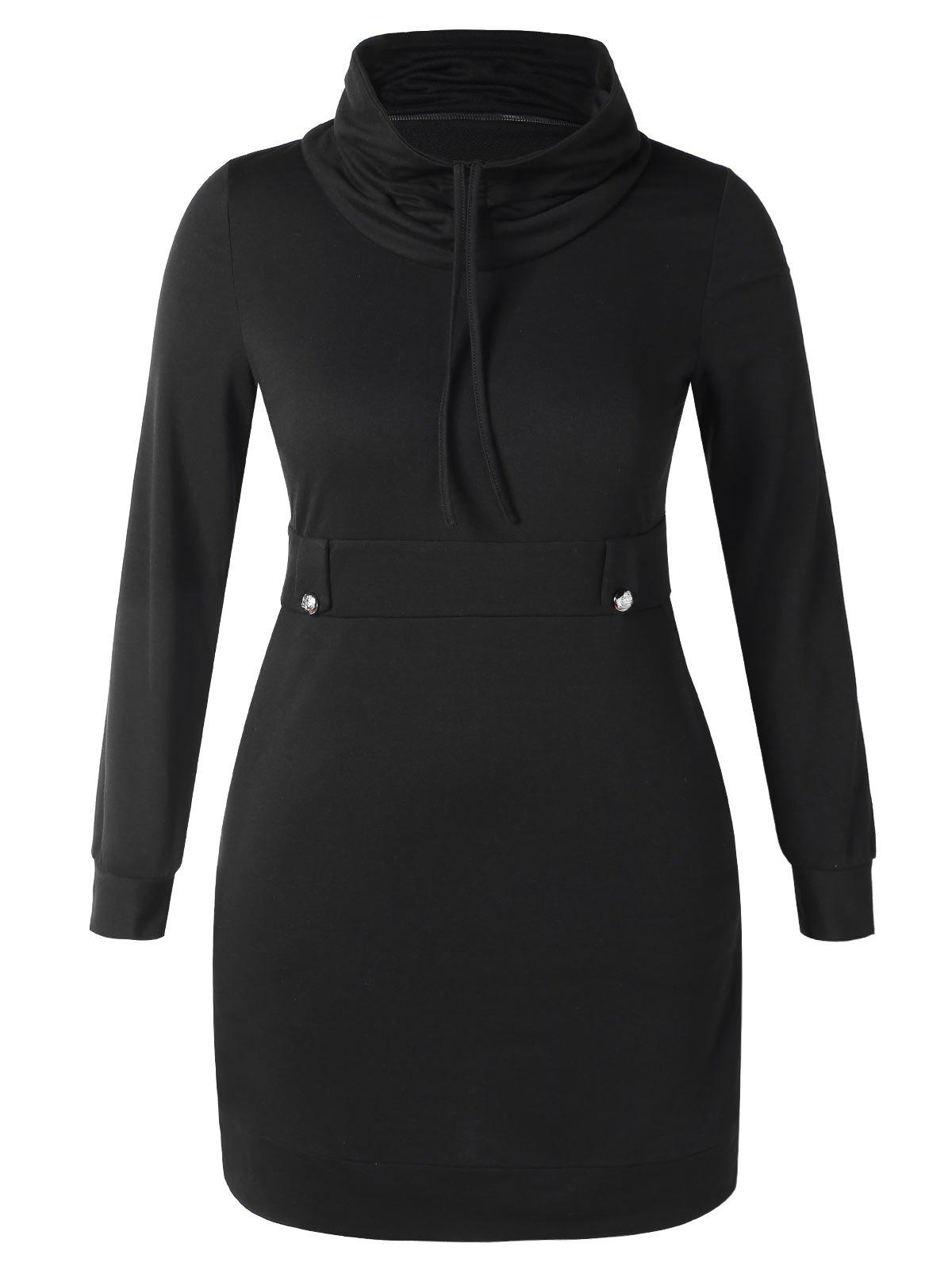 Plus Size Cowl Neck Bodycon Hoodie Dress - BLACK L