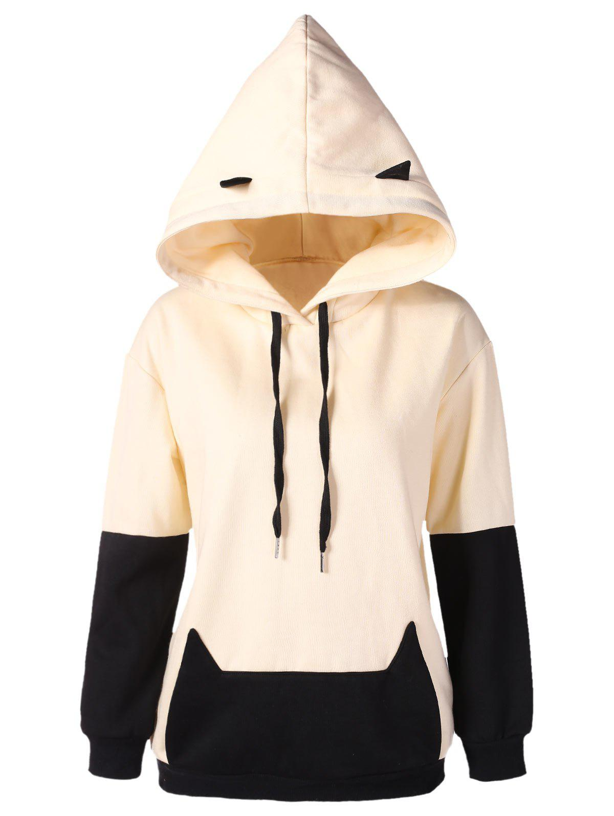Drop Shoulder Black Cat Hoodie - BEIGE XL