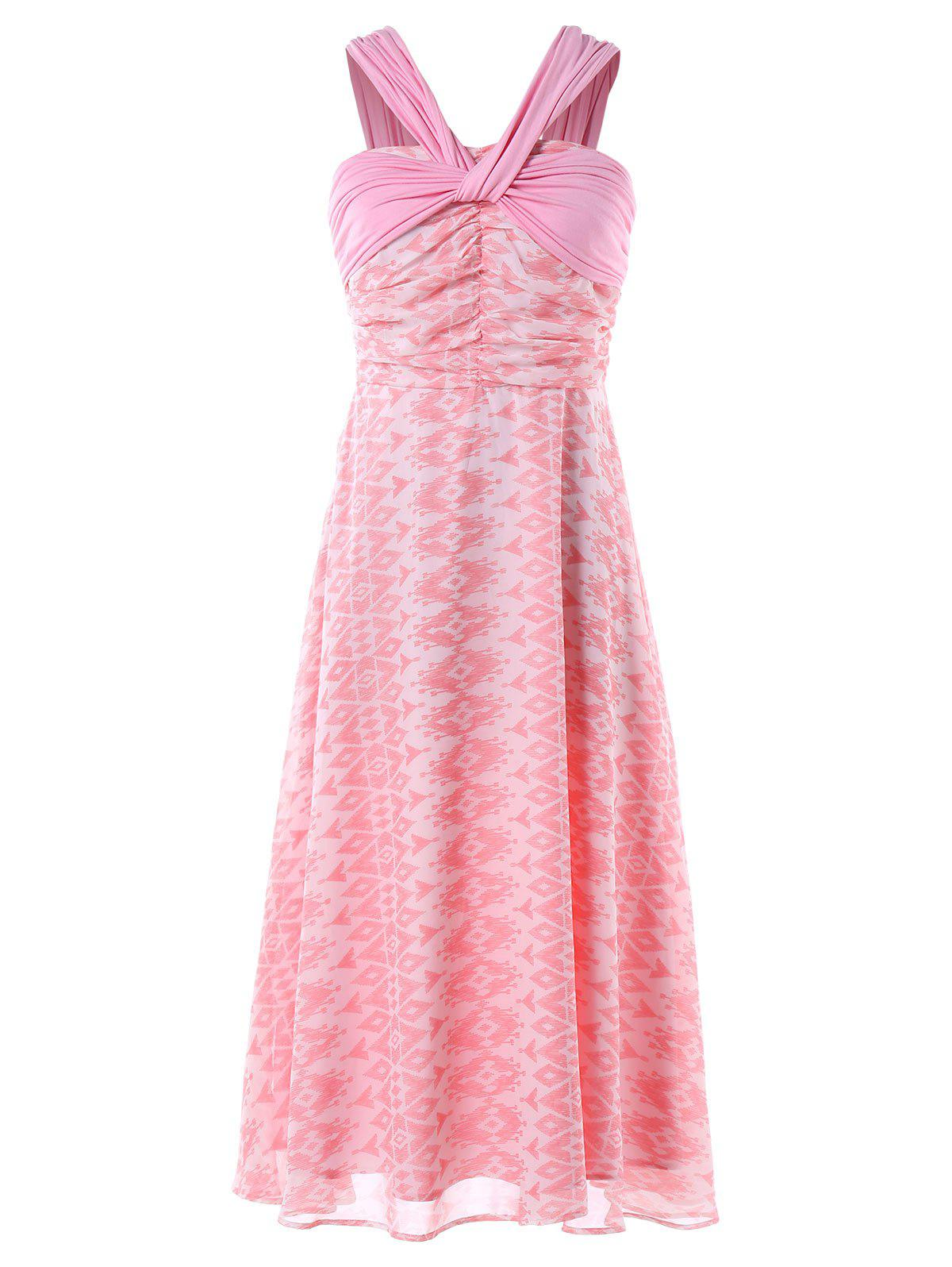 Aztec Print Midi Sleeveless Dress - LIGHT PINK M