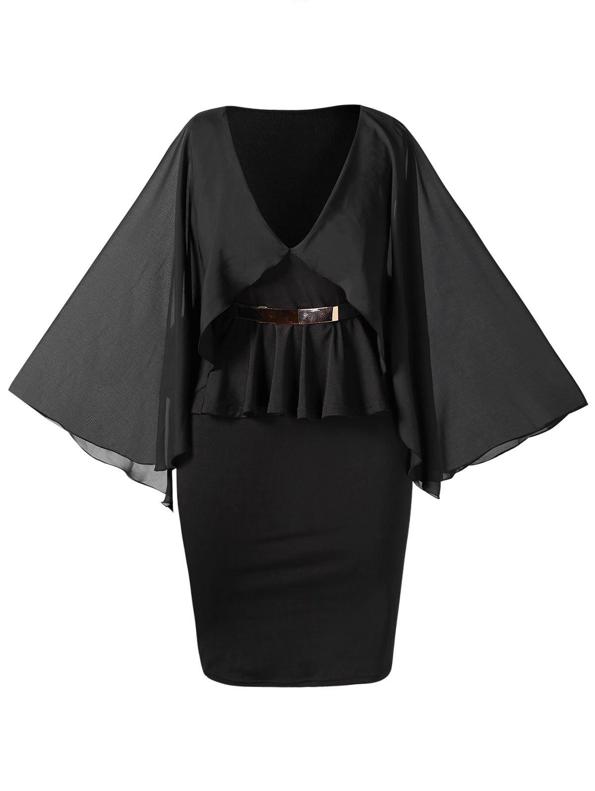 Plus Size Cape Peplum Dress with Belt - BLACK L