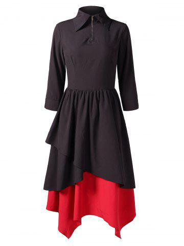 Hit Color Long Layered Dress
