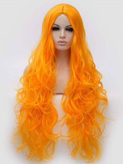 Ultra Long Center Parting Wavy Synthetic Anime Cosplay Wig - PUMPKIN ORANGE
