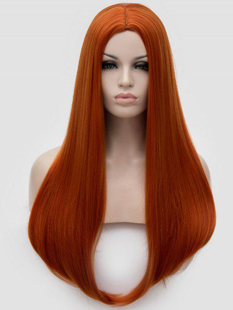 Middle Part Straight Long Party Cosplay Synthetic Wig - ORANGE