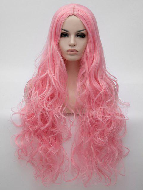 Ultra Long Center Parting Wavy Synthetic Anime Cosplay Wig - PINK ROSE