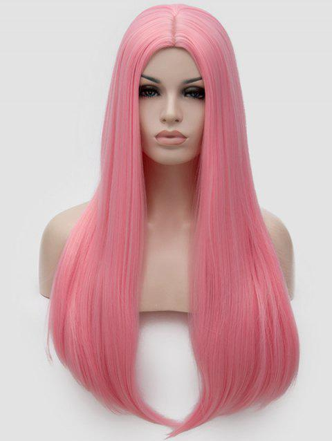 Middle Part Straight Long Party Cosplay Synthetic Wig - PINK