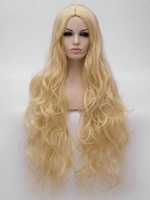 Ultra Long Center Parting Wavy Synthetic Anime Cosplay Wig - BLONDE