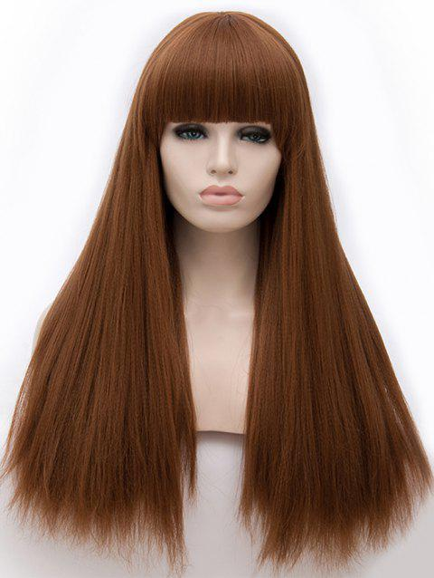Full Fringe Long Straight Party Synthetic Wig - BROWN