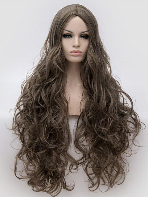 Ultra Long Center Parting Wavy Synthetic Anime Cosplay Wig - DARK GRAY