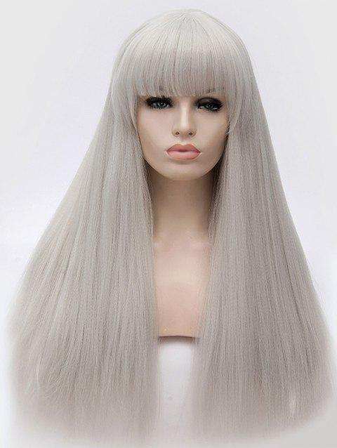 Full Fringe Long Straight Party Synthetic Wig - PLATINUM