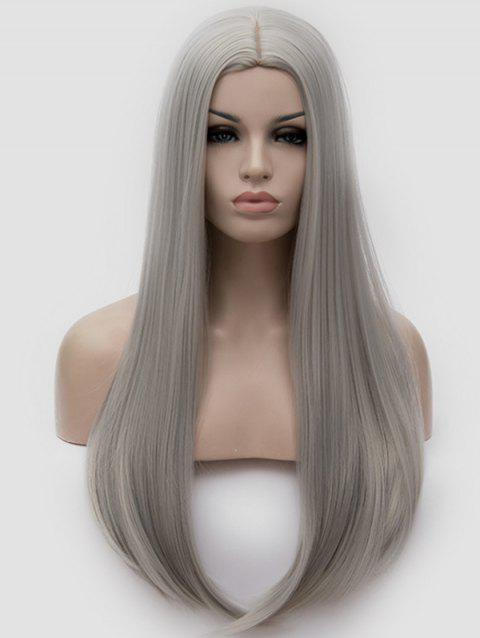 Middle Part Straight Long Party Cosplay Synthetic Wig - SILVER