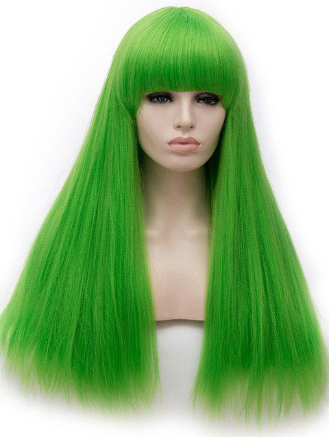 Full Fringe Long Straight Party Synthetic Wig - CLOVER GREEN