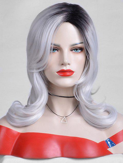 Long Inclined Bang Colormix Slightly Curly Layer Synthetic Wig - multicolor