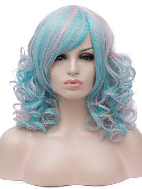 Medium Inclined Bang Colorful Curly Anime Party Synthetic Wig - multicolor