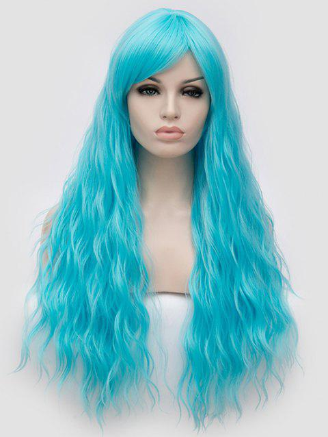 Long Side Bang Natural Wavy Anime Party Synthetic Wig - DEEP SKY BLUE